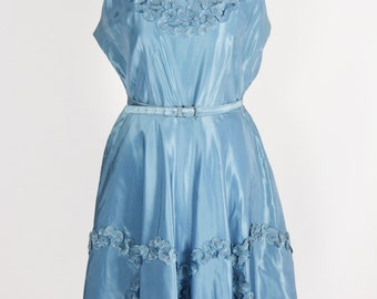 1940's/1950's Blue Taffeta Party Dress/Waist 30""