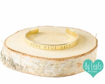 Hand stamped bracelet - Bracelet with text Veni Vidi Vici - Personalized bracelet - Custom bracelet - Cuff bracelet - Gold color