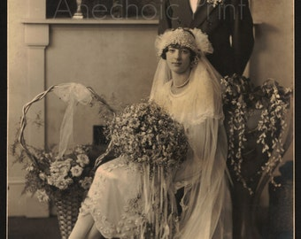 Vintage Sepia 1920s Wedding Photograph of Bride and Groom