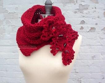 Crochet Pattern Valentines Day Hearts Neck Warmer Easy Crochet Pattern Split Cowl Infinity Scarf Burgundy Neckwarmer Crochet Pattern Easy
