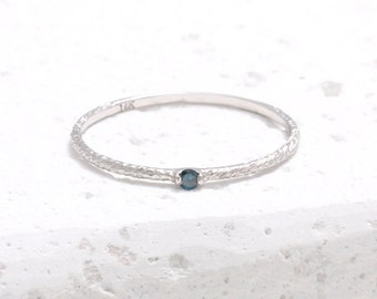 0.02ct Blue Diamond Twig Thin Band 14K Solid Gold Ring