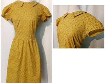 50s Yellow and Brown Floral Day Dress
