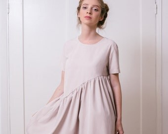 Casual women's dress, sssymetric women's dress, summer dress with short sleeves, dusty pink dress