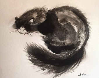 FLUFFY CAT A5 painting