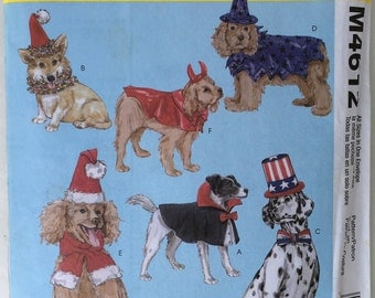 Dog Costumes Pattern in 4 Sizes XS, S, M, L McCall's M4612 Uncut