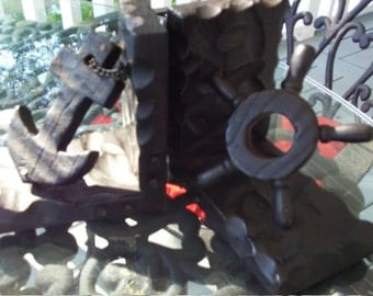 Nautical Chained Anchor and Ship Wheel Bookends, Wooden