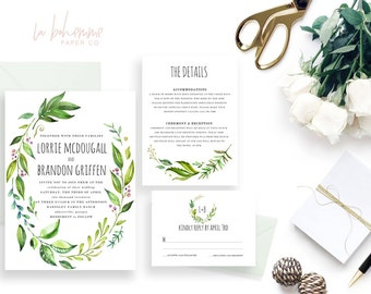 Printable Wedding Invitation Suite / Wedding Invite Set - The Lorrie Wreath Suite