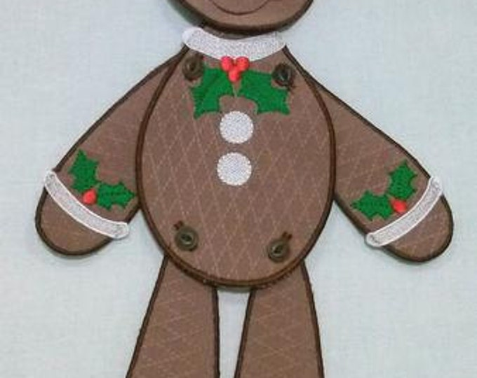 "Gingerbread Man Embroidery Project - 14"" Tall ( Requires 5x7 Hoop or larger )"