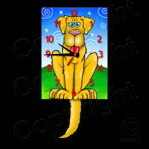Dog Clock with Swinging Tail Pendulum • Yellow Dog Clock • Wagging Tail