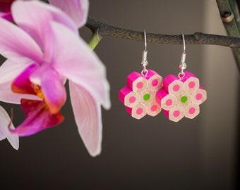 Pencil earrings; Earrings; Gift For Her; Colour Pencils; Handmade; Jewerly; Pink earrings