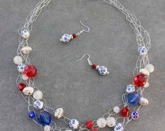 Red, white & blue crocheted wire necklace and earrings