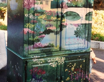 Garden Armoire, hand painted furniture, armoire, storage, hand painted armoire