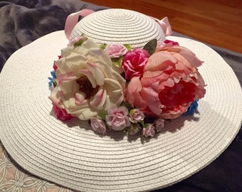 White Floral Kentucky Derby Hat