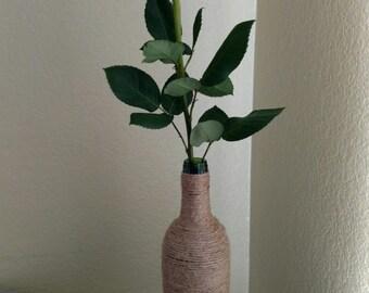 Glass vase, Jute covered glass flower vase