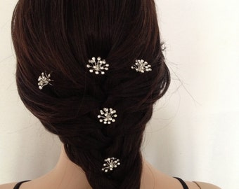 Rhinestone Flower Hair Pins. Bridal Hair Accessory. Hair Jewellery. 6 pcs.