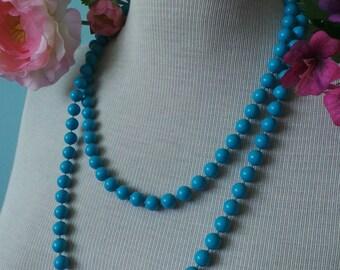 Long Aqua Blue Vintage Plastic Beads