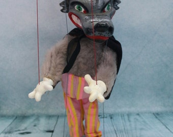 Vintage Red Riding Hood the wolf Pelham puppet with yellow box 1960s