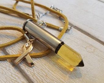 Awareness Bullet necklace brass Citrine natural gemstone Swarovski crystal primer 357 mag nickel