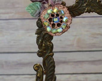 Copper Lotus Pod Rhinestone Accessory Hair Clip/Pin