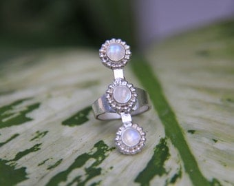 Trishna Ring - 3 in a row, Moonstone Ring, Rainbow, Statement ring, Sterling Silver 925, Gemstone ring, Stone ring, Handmade