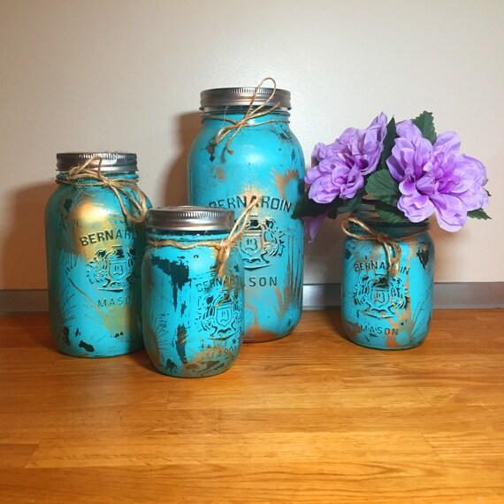 Mason Jar Kitchen Decor Set: Teal Gold Mason Jar Kitchen Canister Set Mason Jar Decor