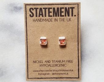 Nutella Spreadable Chocolate Jar Stud Earrings - 1 pair
