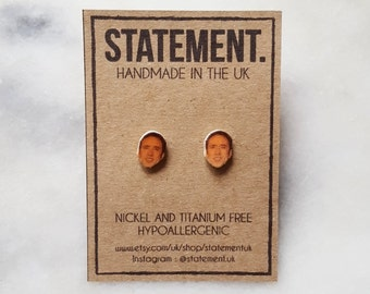 Nicolas Cage Actor/ Celeb Head / Face Stud Earrings - 1 pair
