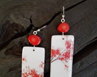 Handmade earrings coral Aluminums