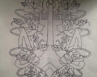 Anchor and Flower tattoo design