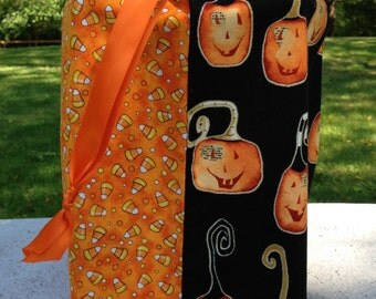 Candy Corn and Fun Pumpkins Fabric Trick-or-Treat Bag - Large