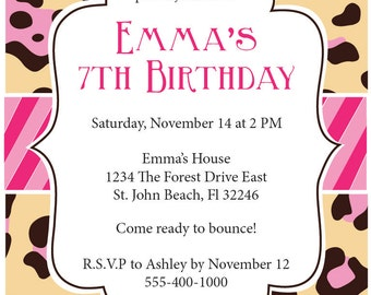 Personalized Pink Leopard Print Invitation