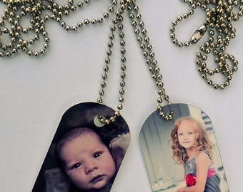 "Photo Dog Tags, Military size. With your photo printed in full color. 30"" chain included."