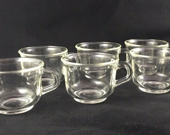 Set of 6 vintage Fortecrisa glass tea coffee cups