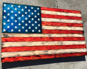 Rustic Wooden American Flag Colored approximately 2'x3'