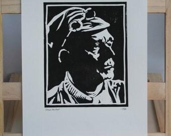 Sheffield Steel Melter, Steel Worker, Sheffield Steel, Hand Printed Linocut Print, Hand made print
