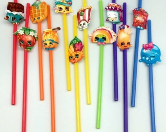 Shopkins party straws (15) Party decor. Birthday party supplies.