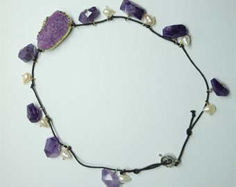 Amethyst gemstone with pearls and  purple druzy.