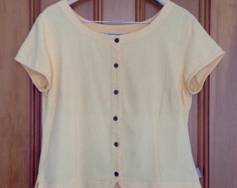 1990s vintage yellow button front boat neck top, 100% cotton, Large