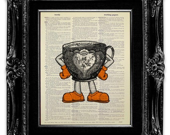 Funny TEA Cup Print, Funny Kitchen Print, Tea Lover Gift, Book Art Print, BOOK Page Art, TEA Print, Tea Poster, Kitchen Tea Cup Poster Decor