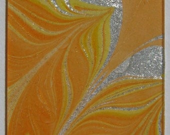 Tangerine Trees at Dawn - Water Marbled Microscope Slide