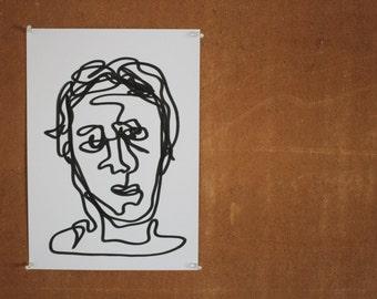 Blind Contour Line Drawing Self-Portrait (Hanna)