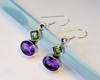 February Birthstone, Statement gift women, Anniversary jewelry wife gift, Long Earrings, daughter gift, Amethyst, Peridot gemstone earrings