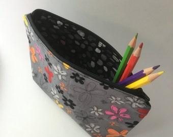 Doodle Floral Notions Bag, Makeup Bag, Zipper Pouch, Pencil Case