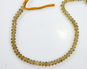 Natural Beer Quartz Rondelle Beads 10 Inch Strand ,Beer Quartz Faceted Rondelle Beads , 7-8 mm - MC478