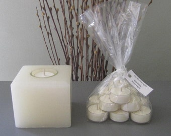 Forever Medium Square Candle with a Dozen Scented Soy Tea Lights