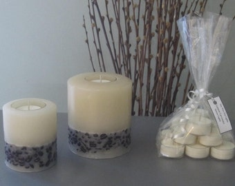 Forever Coffee Pillar Candle Refillable with 12 scented Soy Tea Lights