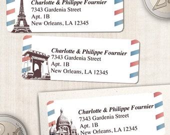 "Printable French Parisian Airmail Address Labels - White, Personalized 2 5/8"" x 1"" Address Labels, Editable PDF, Instant Download"