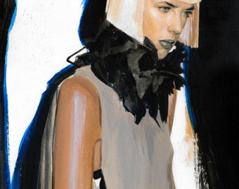 Young Woman in Scarf Original Acrylic Painting