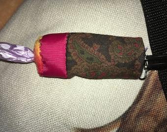 Poo-bag Pouch -Dark Paisley & raspberry trim - NO POSTAGE! until Sep 2nd!
