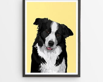 Border Collie Illustrated Breed Print  / Various Colours /  Dog Lover's Gift / Poster